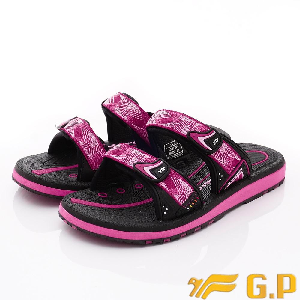 GP時尚涼拖  時尚織帶拖鞋款-ZE573W-15黑桃粉(女段)
