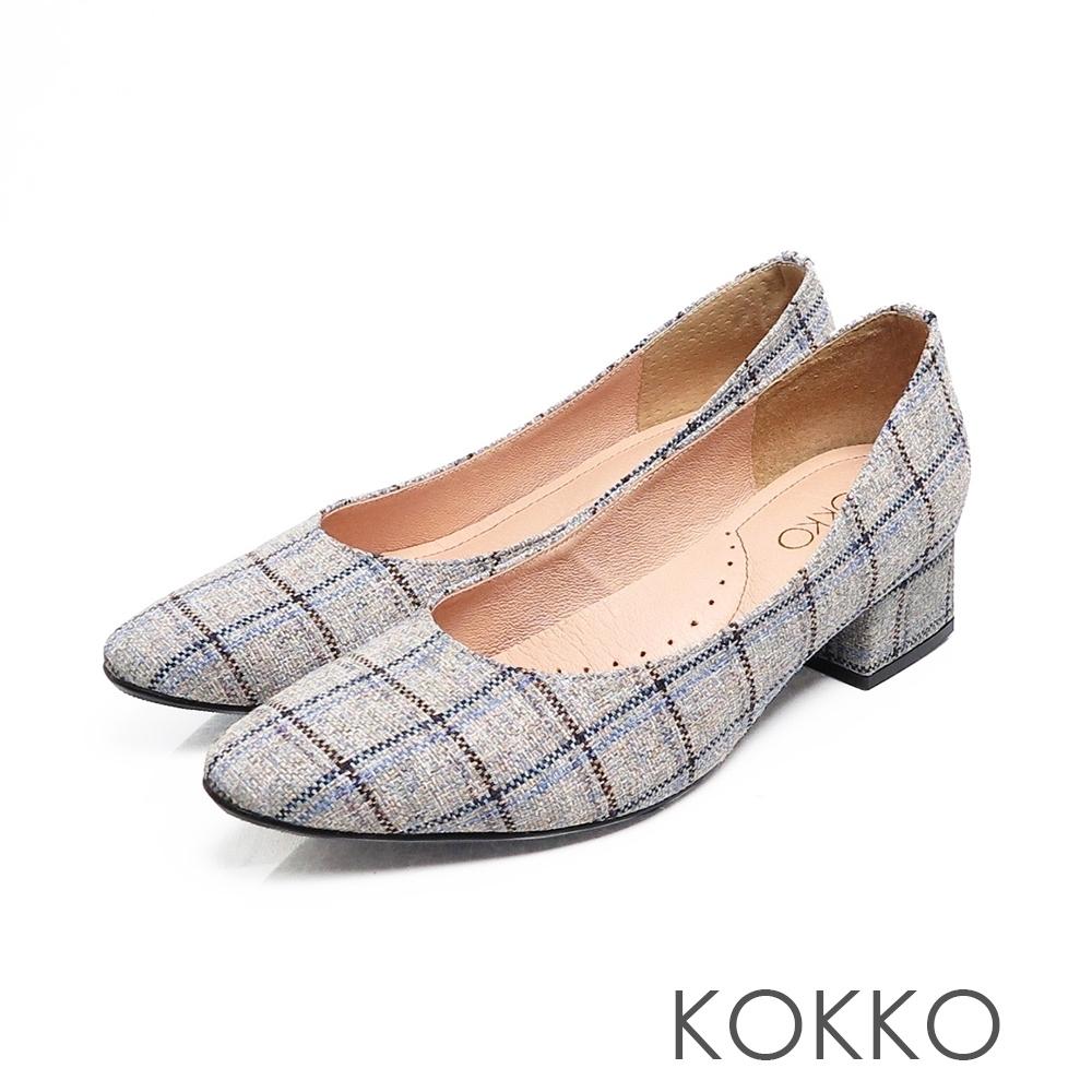 KOKKO - 經典英倫格紋方頭粗跟鞋 - 淡雅灰
