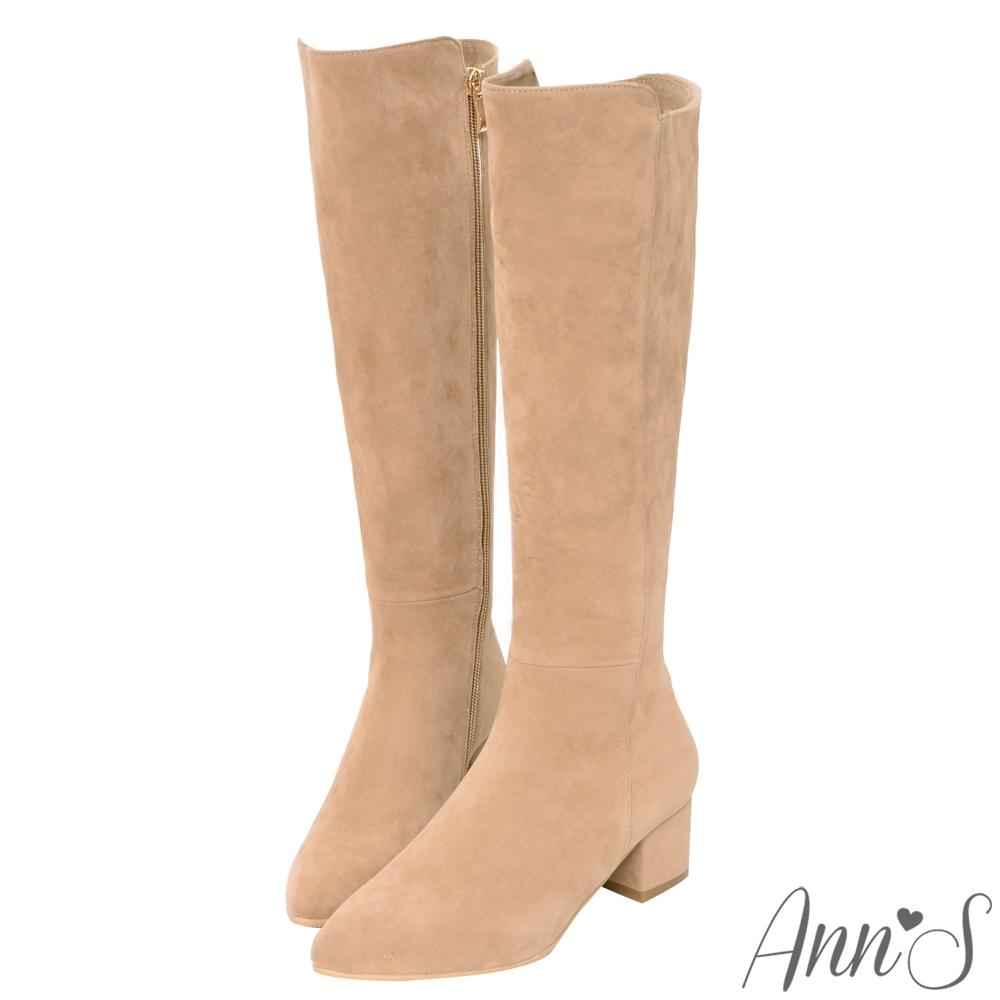 Ann'S返璞經典-前高後低防水絨布粗跟及膝長靴-杏
