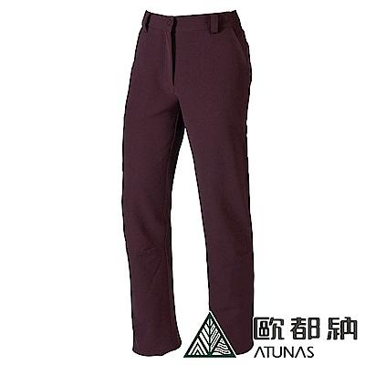 【ATUNAS 歐都納】女薄Soft shell刷毛保暖長褲A-PA1128W深紫