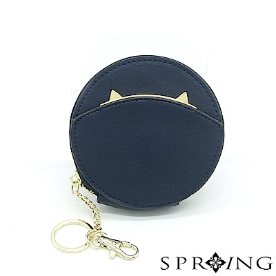 SPRING-貓圓形零錢包-深藍喵喵