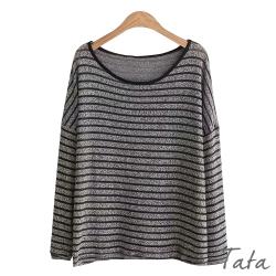 圓領條紋寬鬆針織上衣 TATA-F