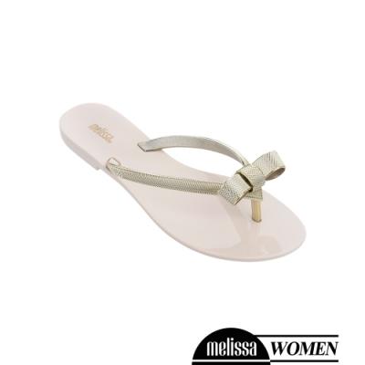 Melissa 金屬蝴蝶結質感涼拖鞋-白