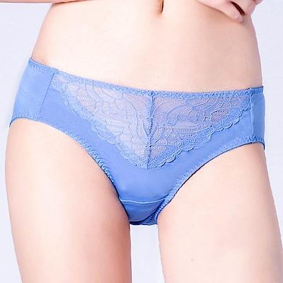 思薇爾 花靈美姬系列M-XXL蕾絲中腰三角內褲(英國藍)