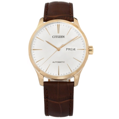 CITIZEN 機械錶 自動上鍊 星期 日期 小牛皮壓紋手錶-白x香檳金框x紅棕/40mm