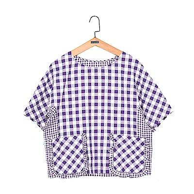gozo 荷葉邊雙口袋格紋拼接上衣(二色)