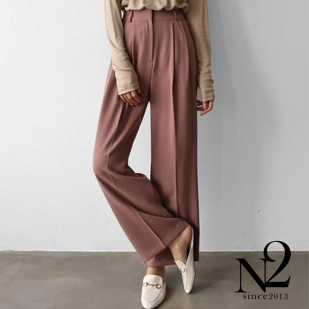 褲子 正韓打折顯瘦防皺材質直筒西裝褲(駝粉) N2