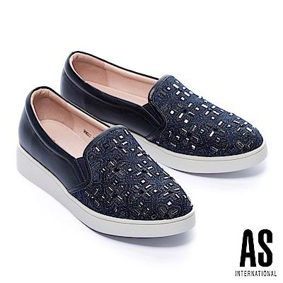 休閒鞋 AS 獨特個性電繡十字鑽設計異材質拼接厚底休閒鞋-藍