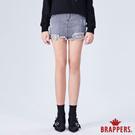 BRAPPERS 女款 Boy friend系列-不收邊割破迷你褲裙-黑灰