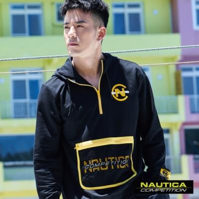 Nautica JR紀言愷聯名款撞色口袋連帽長袖帽T-黑色