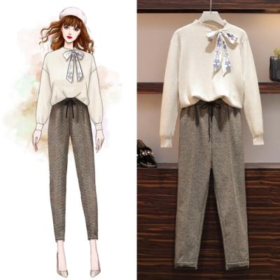 簡約知性針織上衣 毛呢灰色長褲二件組XL-5XL(共二色)KVOLL