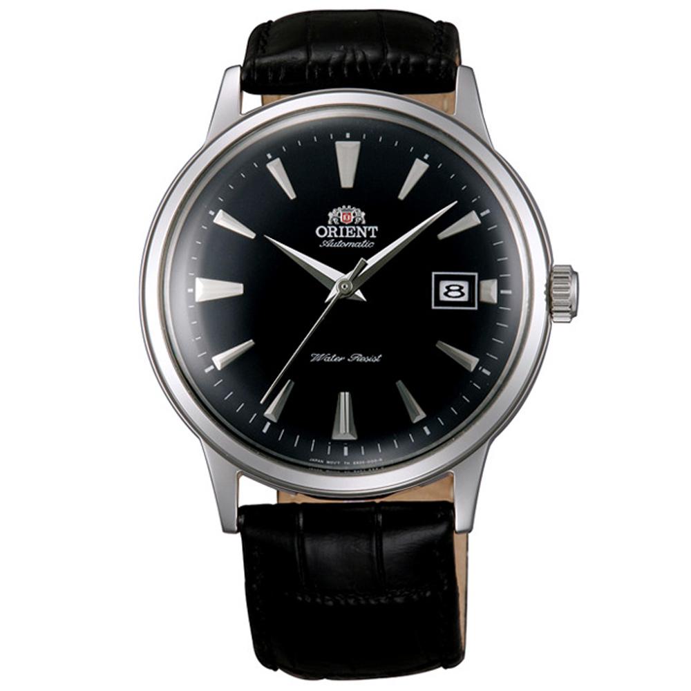 ORIENT 東方 DATEⅡ 簡約真皮機械手錶FAC00004B-黑/40mm