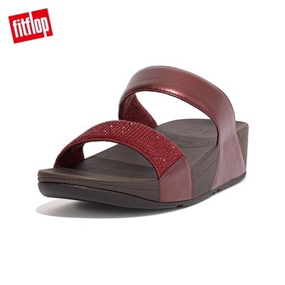 【FitFlop】LULU CRYSTAL EMBELLISHED SLIDES 經典水鑽雙帶涼鞋-女(暗紅色)