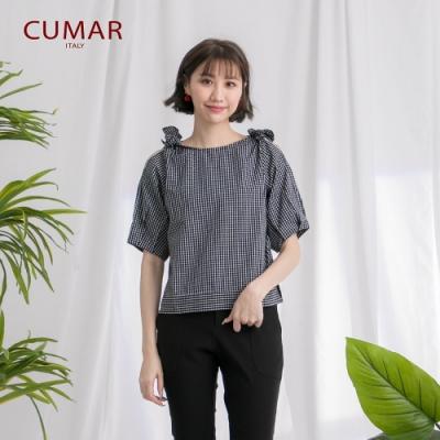 【CUMAR】圓領格紋綁結-襯衫(二色/版型適中)