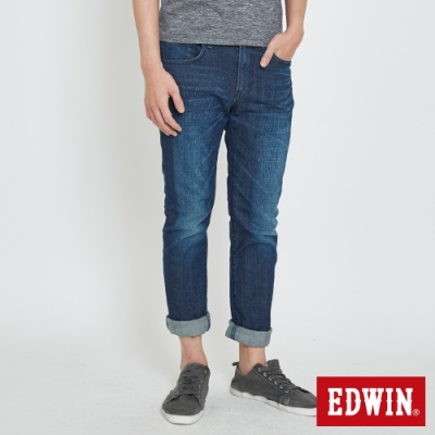 EDWIN  EDGE LINE 漸層袋花 窄直筒牛仔褲-男-拔洗藍