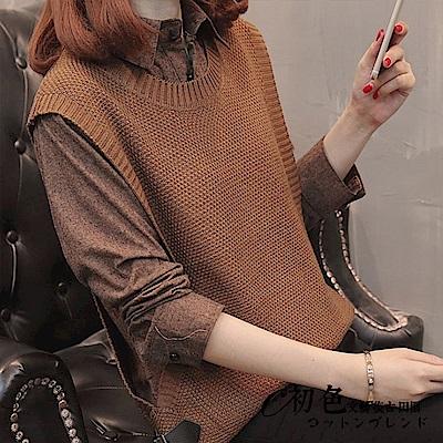 假兩件毛衣背心襯衫-共5色(F可選)    初色