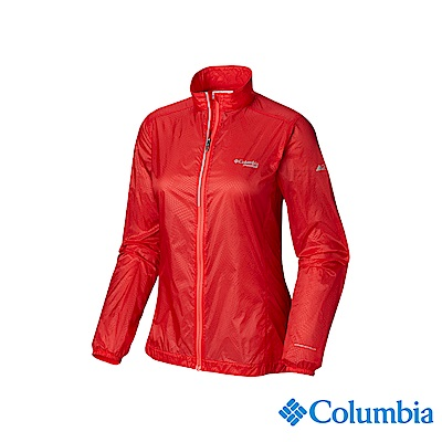 Columbia 哥倫比亞 女款-野跑輕量防潑風衣-橘紅 UAR26810AH