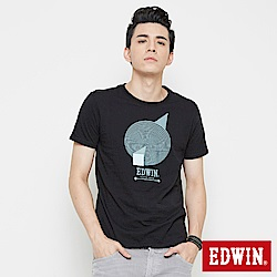 EDWIN 幾何圓形印花短袖T恤-男-黑色