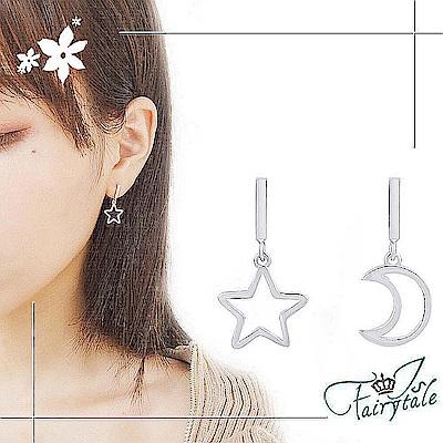 iSFairytale伊飾童話 流星望月 亮麗銅鍍銀垂墜耳環