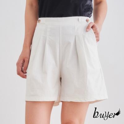 【白鵝buyer】簡約 雙褶線口袋修身短褲(純白)
