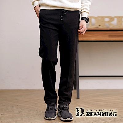 Dreamming 極簡款彈力太空棉平口休閒運動長褲-黑色