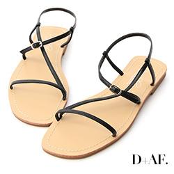 D+AF 涼夏清新.簡約細帶平底涼鞋*黑