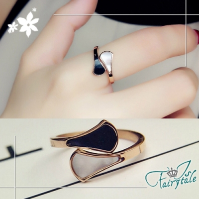 iSFairytale伊飾童話 黑白珠貝 玫瑰金鈦鋼開口戒指 尺寸可選