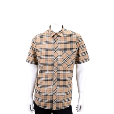BURBERRY TB字母刺繡格紋短袖襯衫(卡其色/男款)