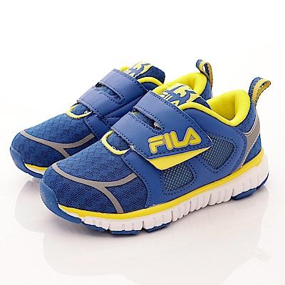 FILA頂級童鞋 輕量運動鞋款 EI25R-339藍黃(中小童段)