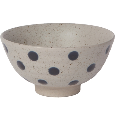 《NOW》石陶餐碗(藍圓點12cm)
