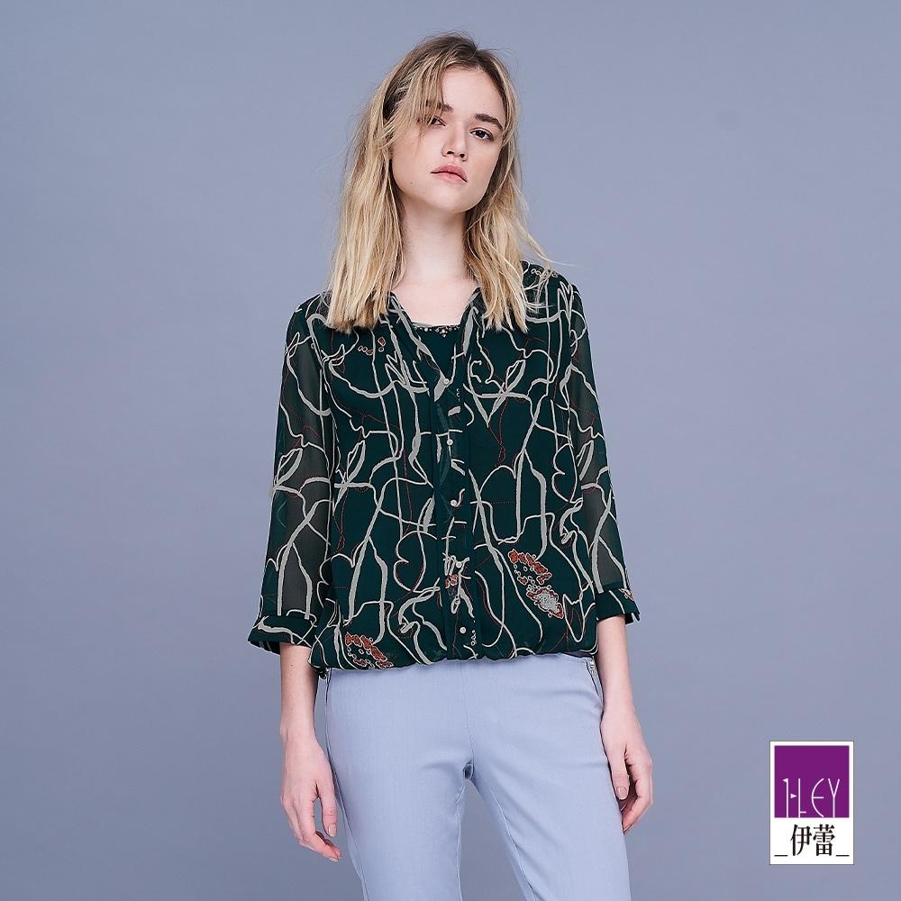 ILEY伊蕾 抽象畫風雪紡上衣(綠)