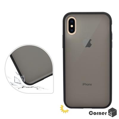 Corner4 iPhone XS Max 6.5吋柔滑觸感軍規防摔手機殼-黑