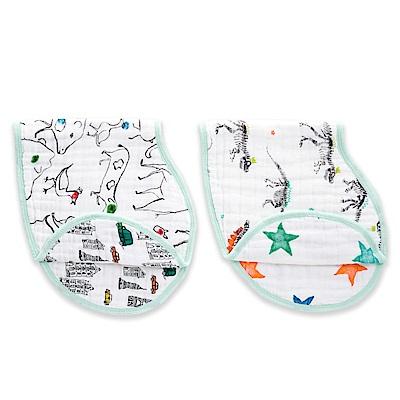 【美國aden+anais】幼兒打嗝巾(2入)-塗鴉AA7058
