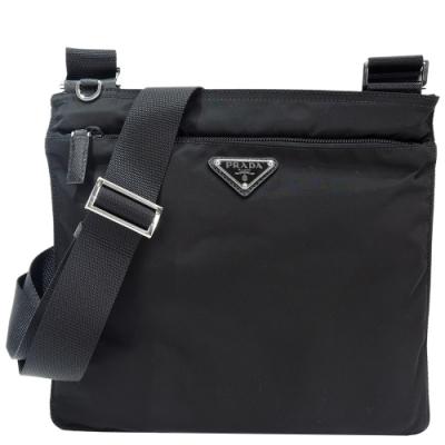 PRADA 三角標尼龍扁型前口袋斜背包(黑)