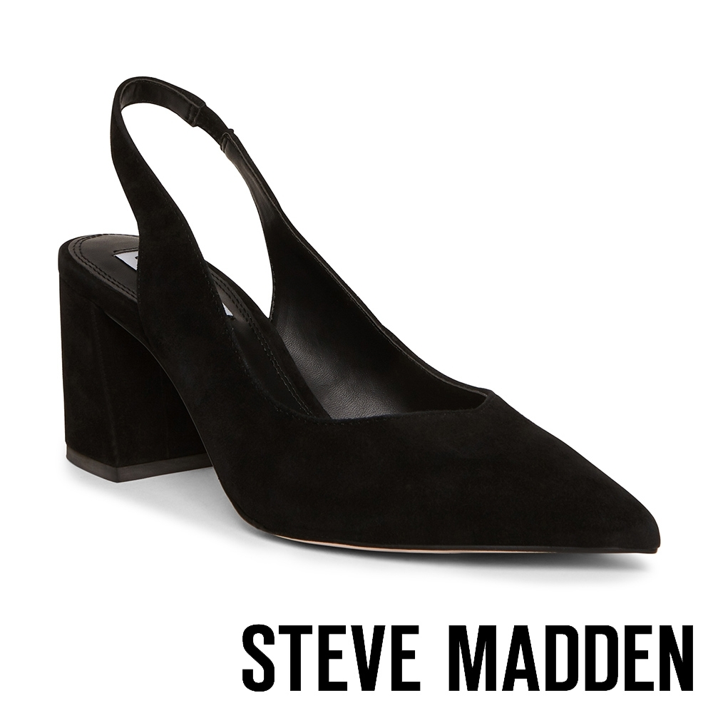 STEVE MADDEN-SLINGBACK 麂皮尖頭繞踝粗跟高跟女鞋-黑色