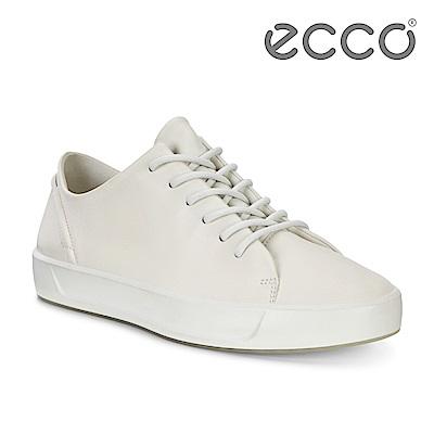 ECCO SOFT 8 W 簡約柔軟皮革休閒鞋 女-白