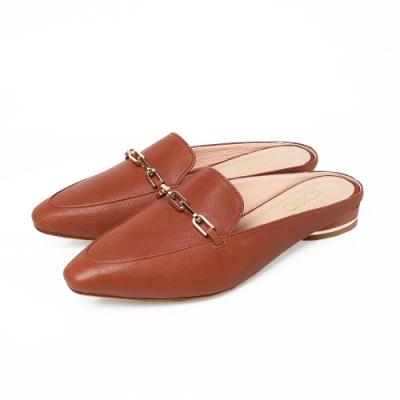 KOKKO時髦方頭羊皮素面鎖鍊穆勒鞋咖啡色