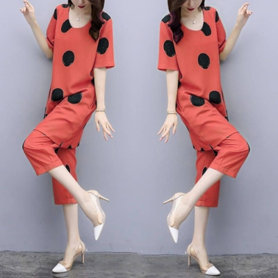 【韓國K.W.】(預購)  韓時尚造型點點印花套裝褲