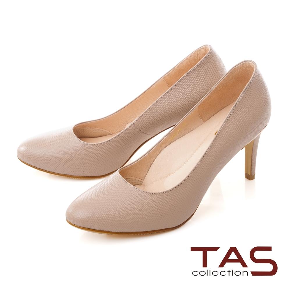 TAS質感素面蜥蜴壓紋羊皮尖頭高跟鞋-質感膚