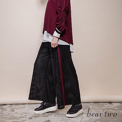 beartwo 天鵝絨條紋滾邊休閒寬褲(2色)