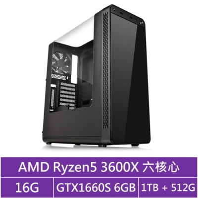 技嘉B450平台[冰刃槍神]R5六核GTX1660S獨顯電玩機