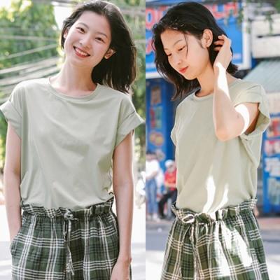 T恤-翻邊飛袖豆沙綠純棉素色短袖寬鬆上衣-設計所在