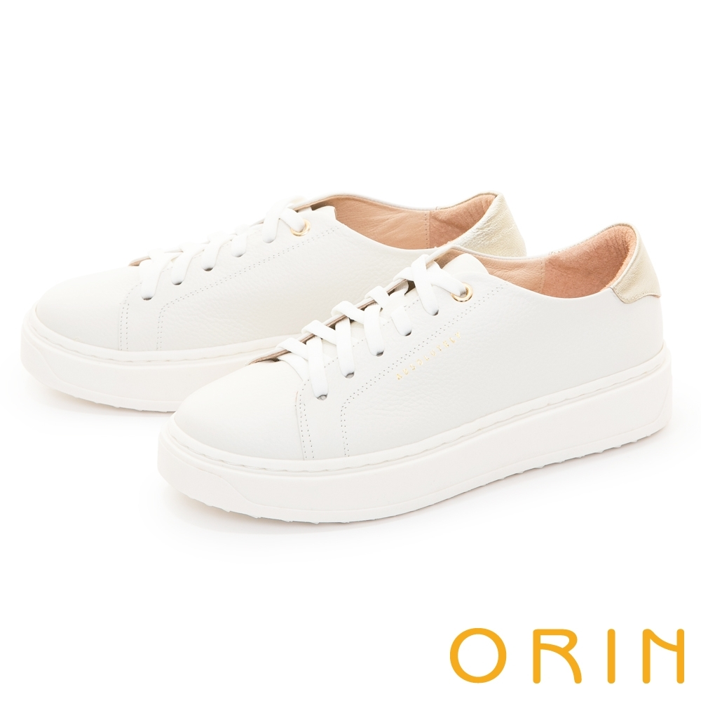 ORIN 質感素面真皮綁帶厚底 女 休閒鞋 白色