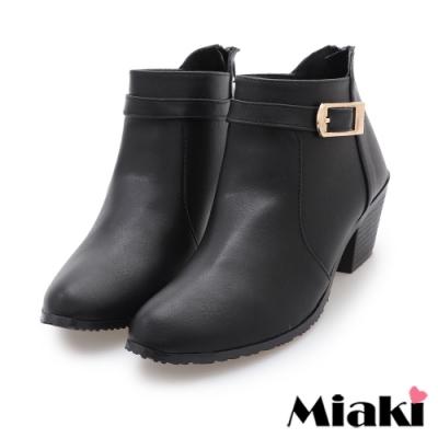 Miaki-短靴MIT 潮流尖頭粗跟機車靴-黑