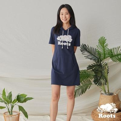 Roots 女裝- 湖畔小木屋系列 花卉海狸連帽洋裝-藍色