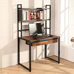 LOGIS 耐磨工業風桌面附插座上層架工作桌 辦公桌 電腦桌 餐桌