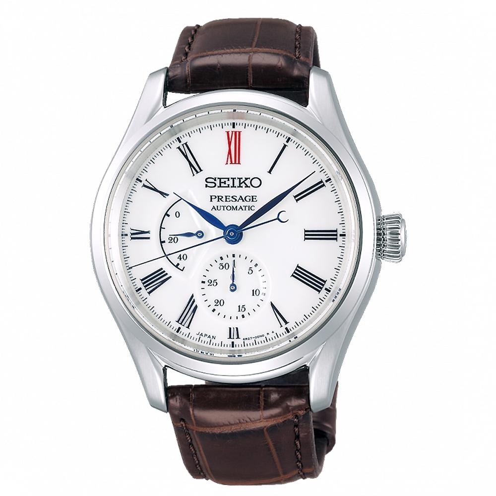 SEIKO 精工 Presage有田燒真皮機械手錶SPB093J1咖啡帶/40.5mm