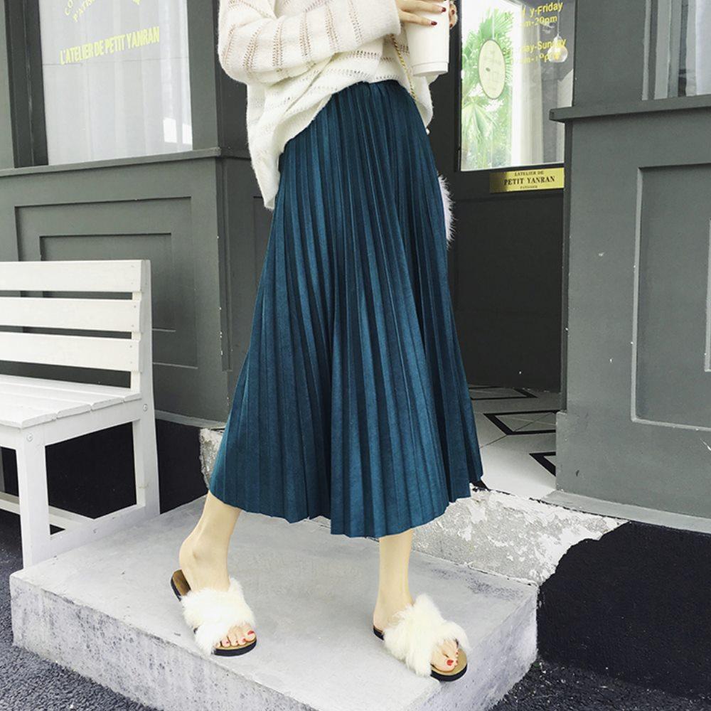 La Belleza素色微亮面光澤感鬆緊腰素色百摺裙半身裙 @ Y!購物