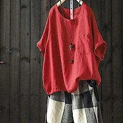 苧麻T恤短袖罩衫繫帶棉麻上衣-設計所在