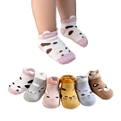 JoyNa【4雙】兒童襪短襪卡通立體動物船襪地板襪鬆口印花襪